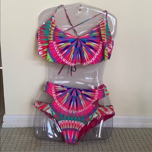 Ruffle top multicolor two-piece bathing suit